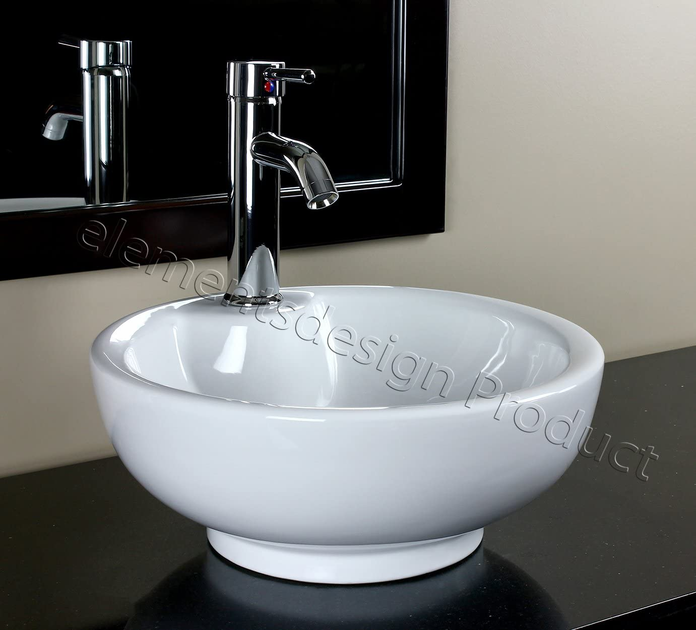 Bathroom Ceramic Porcelain Vessel Sink CV30C5 Chrome faucet and Drain
