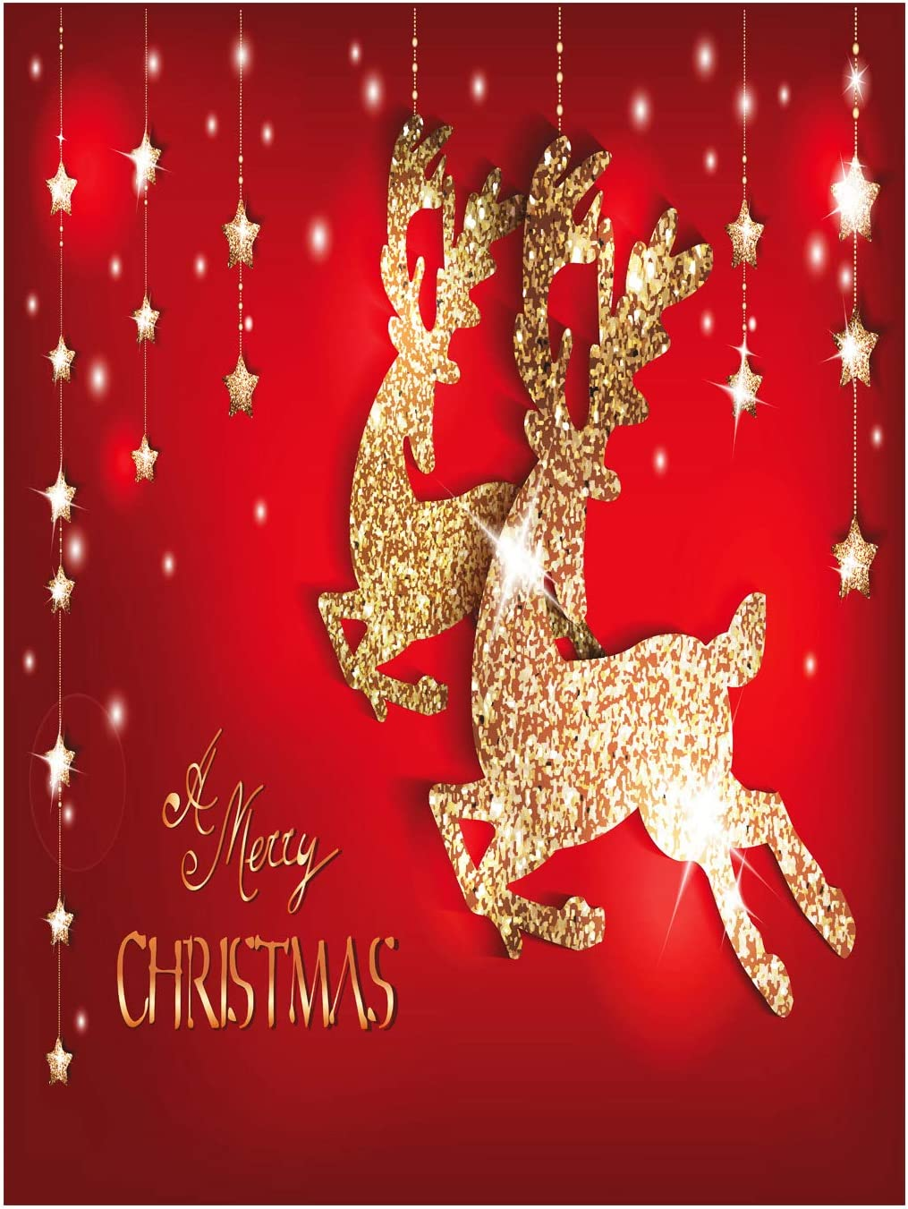 Wamika Merry Christmas Golden Reindeer Garden Flag 12