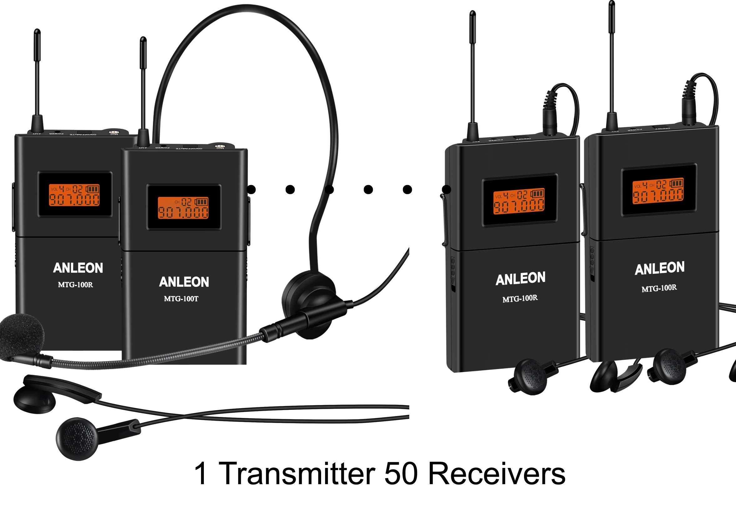 Wireless Acoustic Transmission System Tour Guiding, Simultaneous Translation, Audio-visual Eduation (1 Transmitter and 50 Receivers)