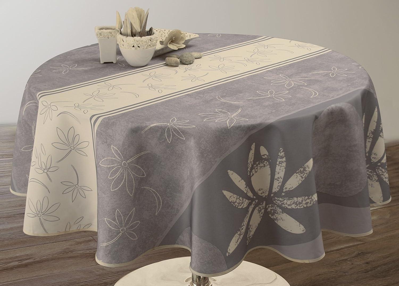 taille Nappe anti-taches Lotus blanc Ronde diam/ètre 160 cm