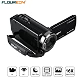 FLOUREON Videocamera WIFI 4K Ultra-HD 48 Megapixel, Zoom digitale 16x, LCD 3,0 pollici, Modalità AP, scatto notturno