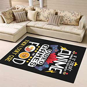 Anime Video Game Food Gamer Area Rug Carpets Floor Yoga Mat Entry Rugs for Living Room Bedroom Playroom Home Decor 5.2' x7.5'(Premium)