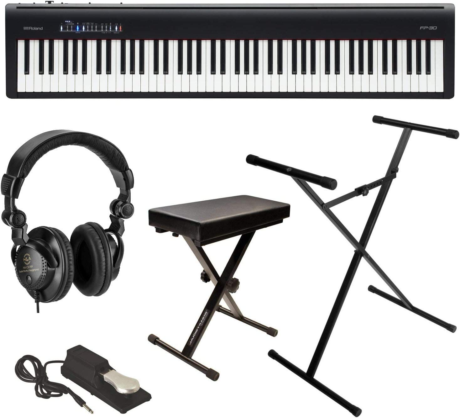Roland Roland Fp 30 Digital Piano With Keyboard Stand Bench Pedal And Headphone Kit Amazon Ca Musical Instruments Stage Studio