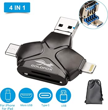 Micro SD Reader NEW Muti-Card Reader Adapter 4 in 1 Lightning Micro type-c  TF