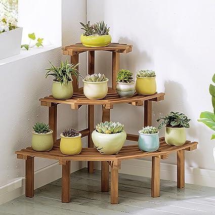 Zhen Guo Corner Step Style Wooden Plant Rack Shelving Pine Wood Flower Pots Shelves Planters