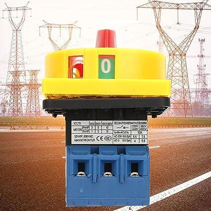 3P 25A//32A Commutateur de disjoncteur de charge,Interrupteur dalimentation /à cames rotatives tripolaire /à 2 positions 25A