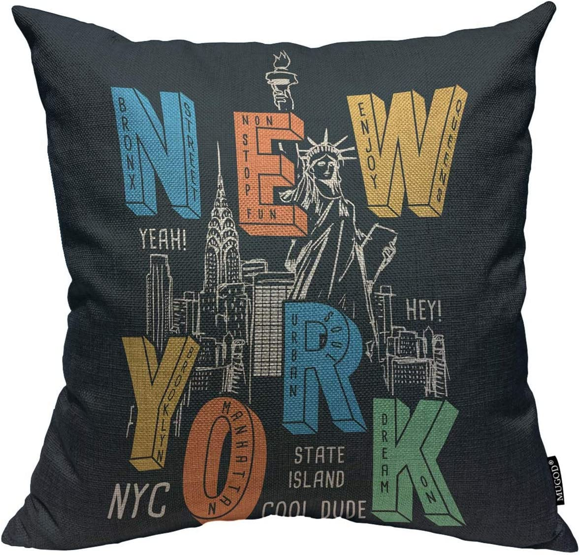 Mugod New York City Throw Pillow Cover New York Theme on Black Background Decorative Square Pillow Case for Home Bedroom Living Room Cushion Cover 18x18 Inch