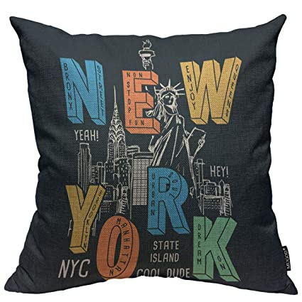 Mugod New York City Throw Pillow Cover New York Theme on Black Background  Decorative Square Pillow Case for Home Bedroom Living Room Cushion Cover ...