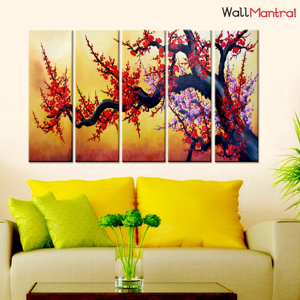Amazon.com: WallMantra Cherry Blossom Branch Wall Painting/5 Pieces ...