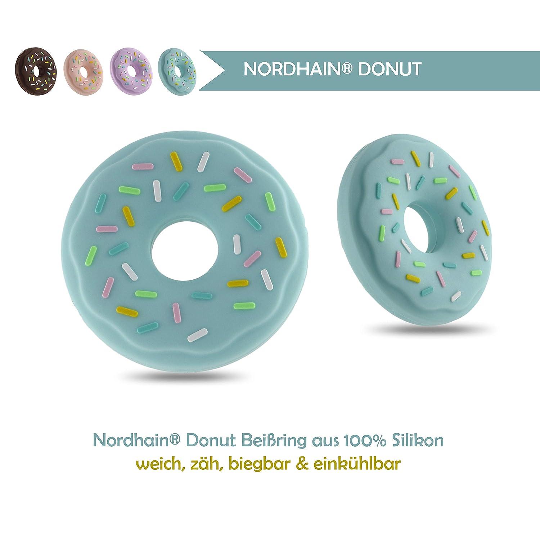 Nordhain - Lila Donut Beißring für Babys aus zertifiziertem Silikon - hochwertiger Freund deines Babys für sanfte Zahnungshilfe