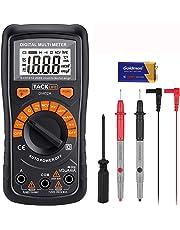Multimetro Digitale Classico, Tacklife DM02A Multi Tester con Rilevamento di Voltaggio Senza Contatto, Display LCD Retroilluminato, Test per Tensione, Corrente, Resistenza e Continuità (Nero)