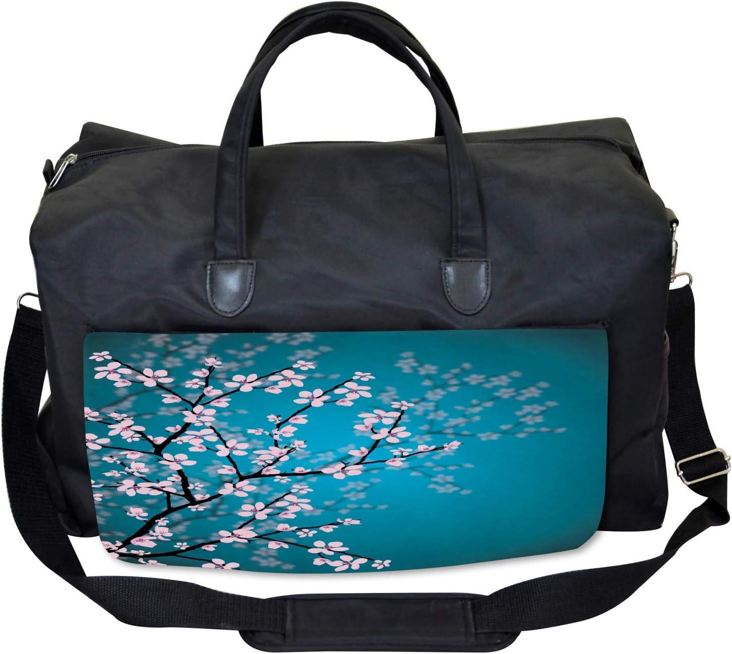 Ambesonne Japanese Gym Bag Sakura Bloom Pattern Large Weekender Carry-on