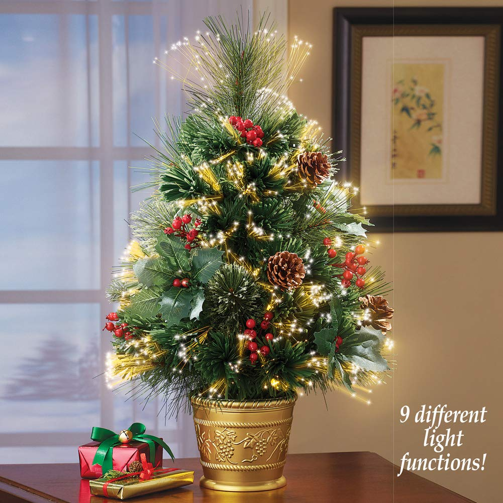150100d825d Collections Etc Rotating Poinsettia Tabletop Christmas Tree with Fiber  Optic Lights and Star Winston Brands