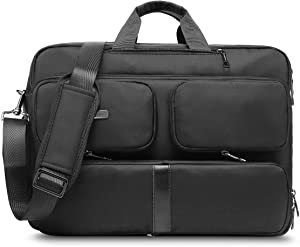 CoolBELL Convertible Laptop Bag Backpack Messenger Bag Shoulder Bag Business Briefcase Multi-Functional Travel Rucksack 17.3 Inches Laptop Case for Men/Women (Black)