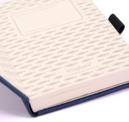 marcador bolsillo interior Dingbats wildlife a6 cuaderno//notebook cierre el/·stico cuadrado, ballena azul pu-cuero titular de la pluma papel 100gsm crema micro-perforado
