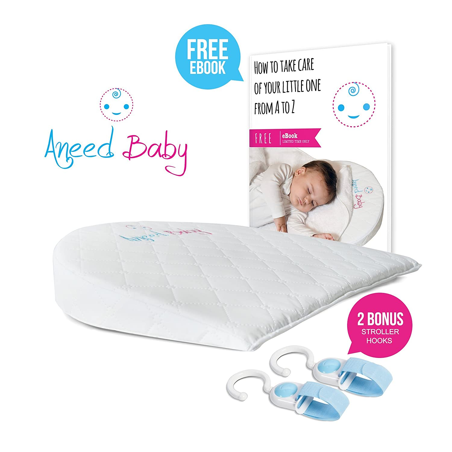 Bassinet Wedge - Crib Wedge for Baby Reflux - Infant Pillow with Waterproof Cover - Baby Pillow for Newborn Reflux and Nasal Congestion Reducer - Hypoallergenic Baby Wedge - Incline Crib Pillow Aneed Baby