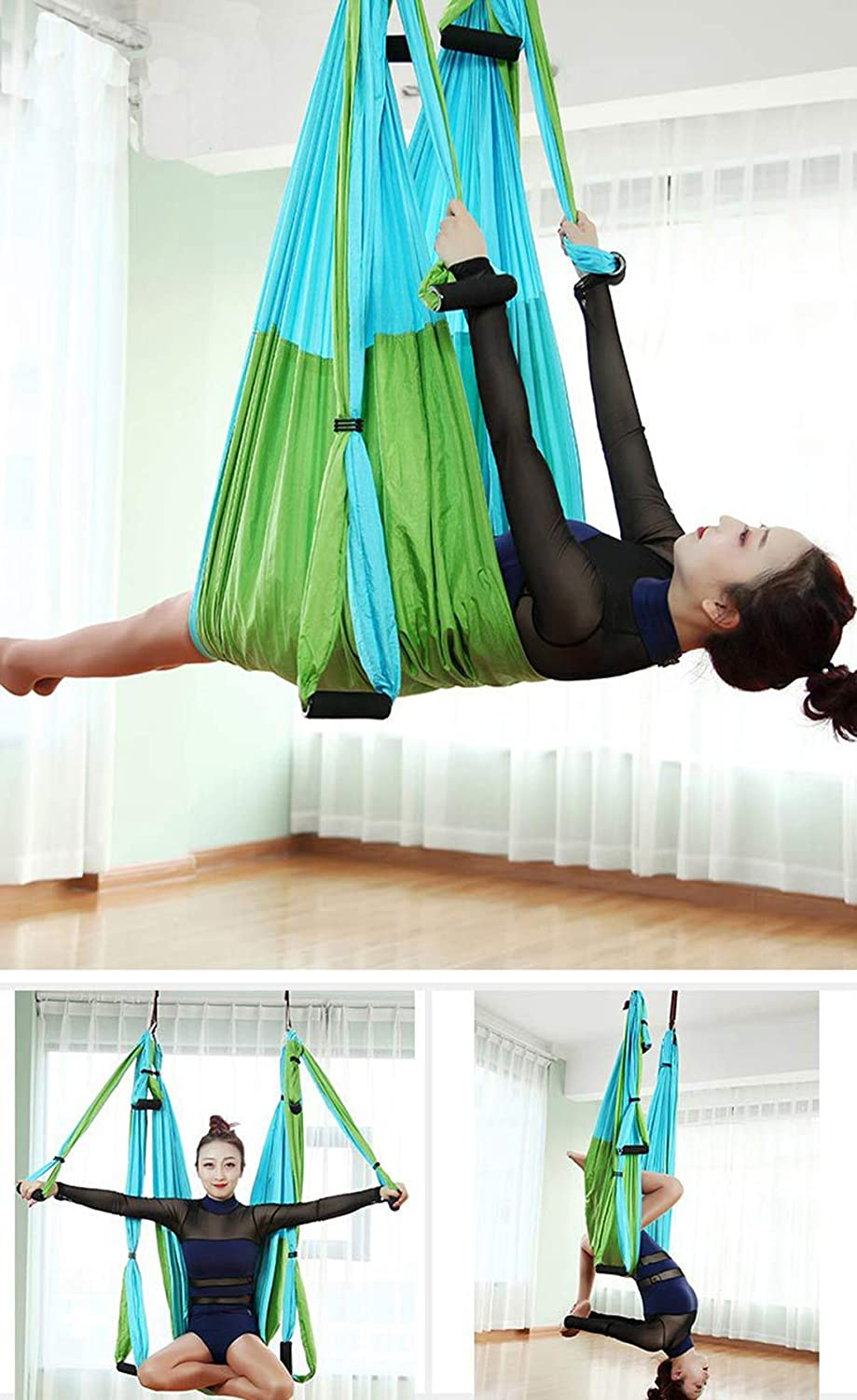 Odse Aerial Yoga Swing 2 Extensions Straps Included Ultra Strong Antigravity Yoga Hammock//Sling//Inversion Tool for Air Yoga Inversion Exercises