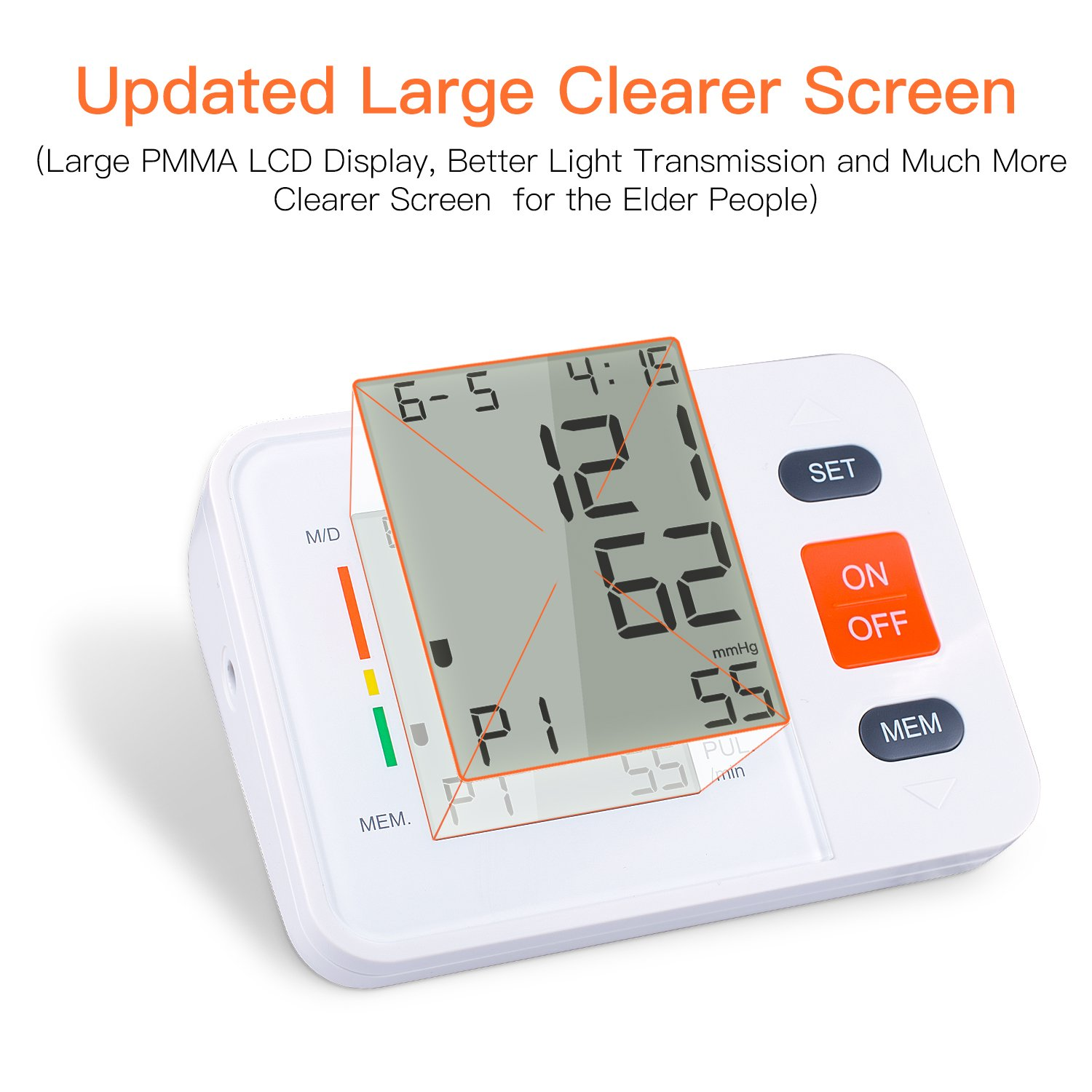 COULAX Digital Blood Pressure Monitor with WHO Indicator and Large LCD Screen for 2 Users Automatic Electronic Monitor with Adjustable Size Fits All Cuff,measuring for Blood Pressure and Heartbeats