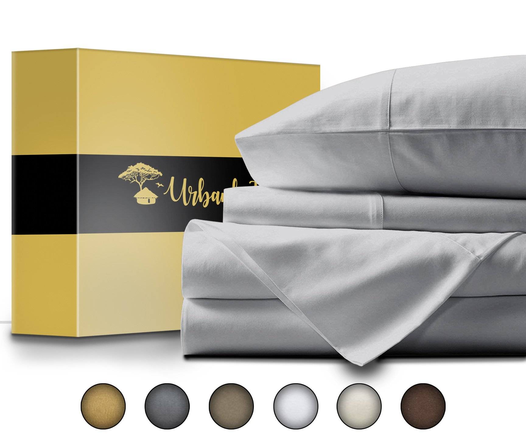 Urban Hut Egyptian Cotton Sheets Set (4 Piece) 800 Thread Count - Bedspread Deep Pocket Premium Bedding Set, Luxury Bed Sheets for Hotel Collection Soft Sateen Weave (California King, Silver Grey) by URBANHUT (Image #3)