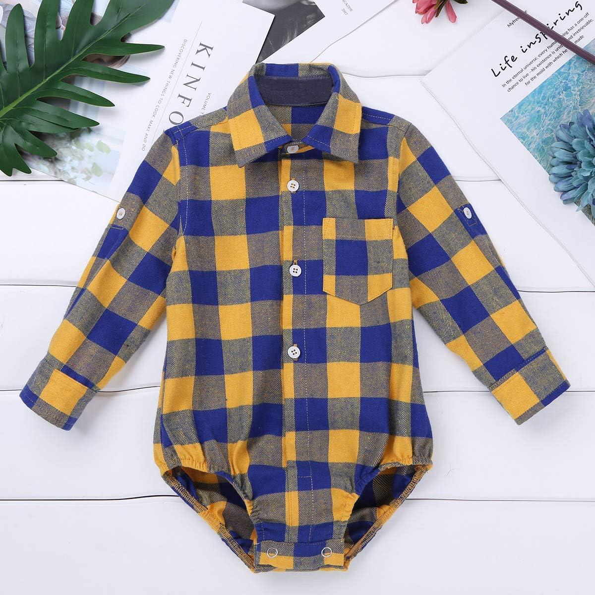 Agoky Camiseta de Cuadros para Bebé Niño Jumpsuit Mameluco Manga Larga Camisa Casual Mono Bebe Recién Nacido Romper Traje Fiesta: Amazon.es: Ropa y accesorios