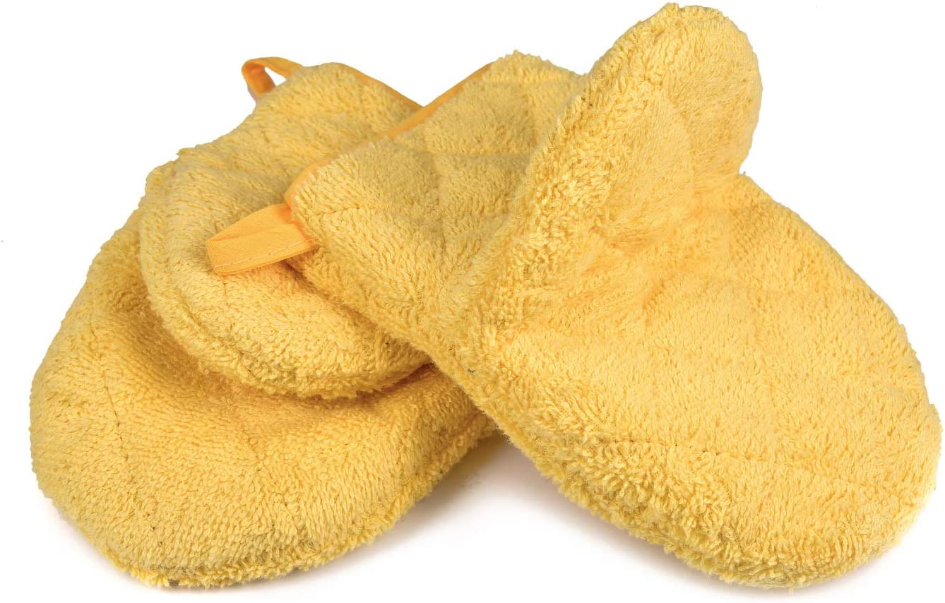 VEEYOO 100% Cotton Oven Mitts, Everyday Kitchen Heat Resistant Oven Mitt Set, Machine Washable Terry Oven Mitts Baking Gloves (Yellow 7.5x5.5 Inches, Set of 2)