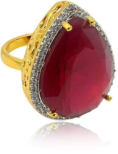 8ec15f619 Buy Big Ring for Women, Girls cz Stone 22k Gold Plated fahsionable Designer  Antique for Party, Gift ... (RED) Online at Low Prices in India | Amazon ...