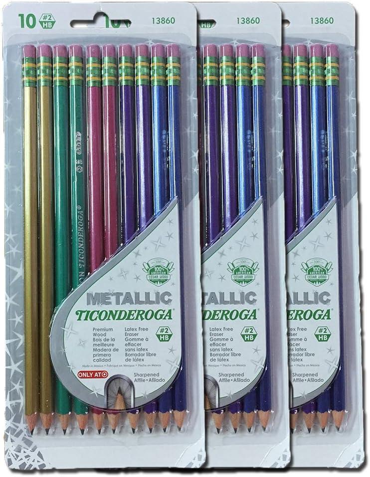 Dixon Ticonderoga Metallic Wood-Cased #2 2HB Pencils 30 pack 13860 Pre-Sharpened