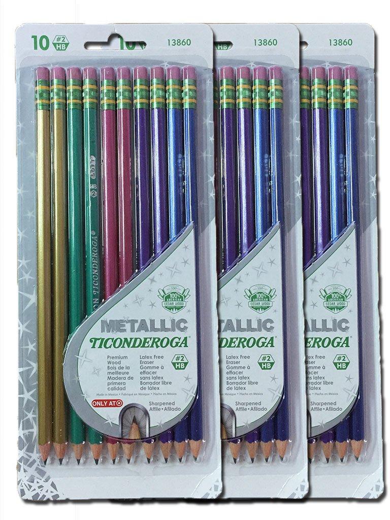Dixon Ticonderoga Metallic Wood-Cased #2 2HB Pencils, Pre-Sharpened, 30 pack, 13860 by Ticonderoga