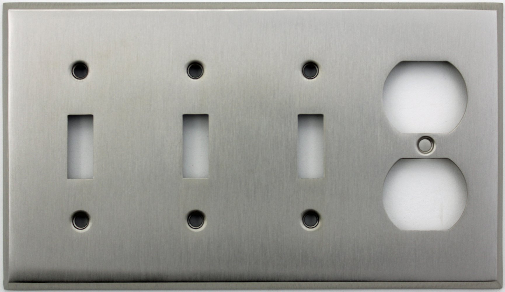 Classic Accents Stamped Steel Satin Nickel Four Gang Wall Plate - Three Toggle Light Switch Openings One Duplex Outlet Opening