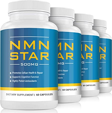 NMN Nicotinamide Mononucleotide Supplement, 500mg, Stabilized Form, Naturally Boost NAD+ Levels for DNA Repair & Energy (4 Bottles(240 Capsules))