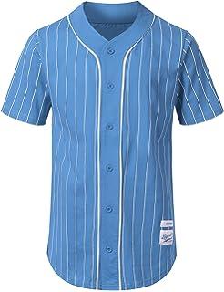 URBANCREWS Mens Hipster Hip Hop Button-Down Baseball Jersey Short Sleeve  Shirt 8008fad1e