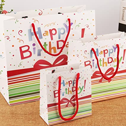 Amazon 5 Pack High Quality Birthday Gift Bags With Ribbon Handle 1 Large 2 Medium Small By Lynnwang Design Arts Crafts Sewing