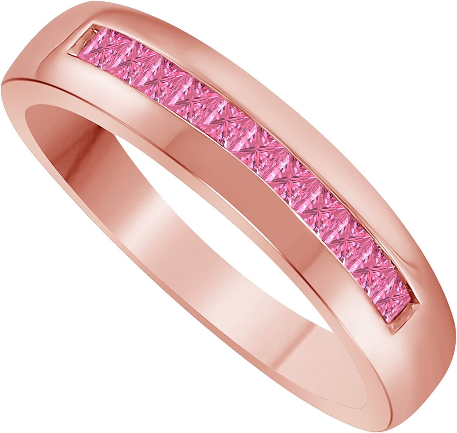 Gems and Jewels 14k Rose Gold Plated Princess-Cut Pink Sapphire Mens Wedding Band Ring