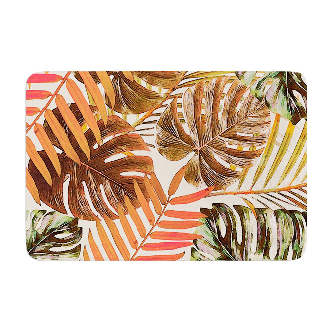 Kess InHouse Alison Coxon Jungle Rust Orange Brown Memory Foam Bath Mat, 24 by 36'