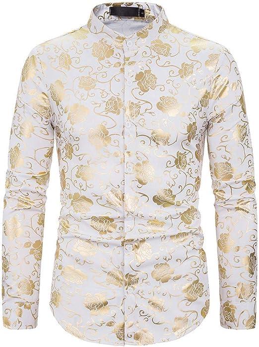 routinfly-Top da uomo Camiseta de Manga Larga para Hombre, de Moda, de Oro Rosa, con impresión Blazer Slim Fit, de Manga Larga, Soporte para Cuello: Amazon.es: Hogar