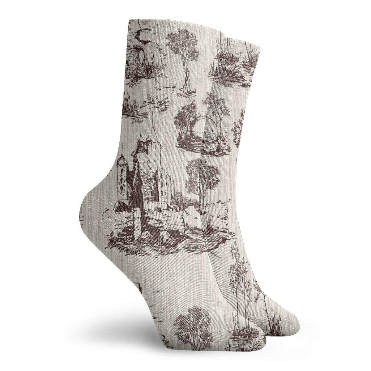 Women Men Old Castles Pattern Athletic Ankle Socks