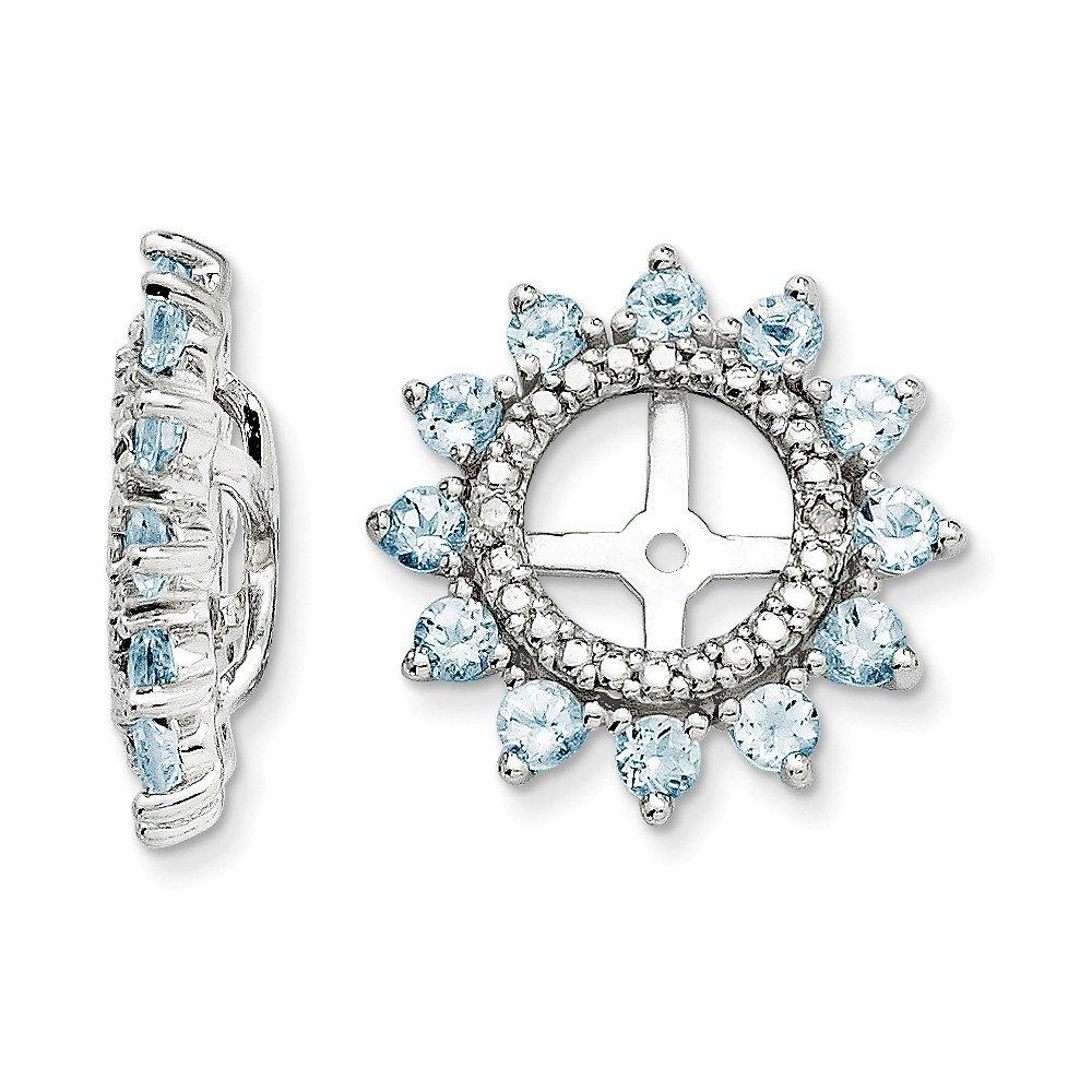Sterling Silver Rhodium Diamond & Aquamarine Earring Jacket