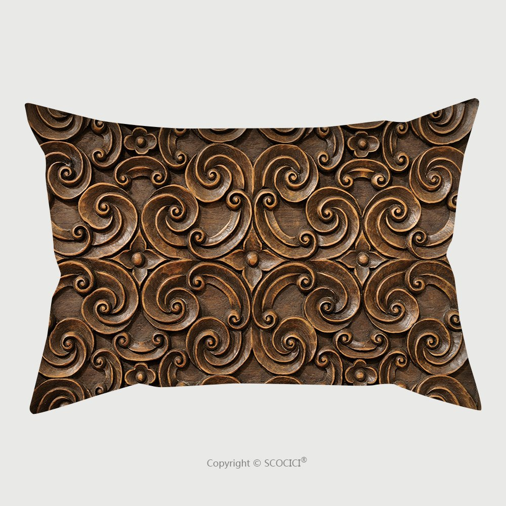 Custom Satin Pillowcase Protector Wood Thai Pattern Handmade Wood Carvings Chiangmai Thailand 67843942 Pillow Case Covers Decorative by chaoran
