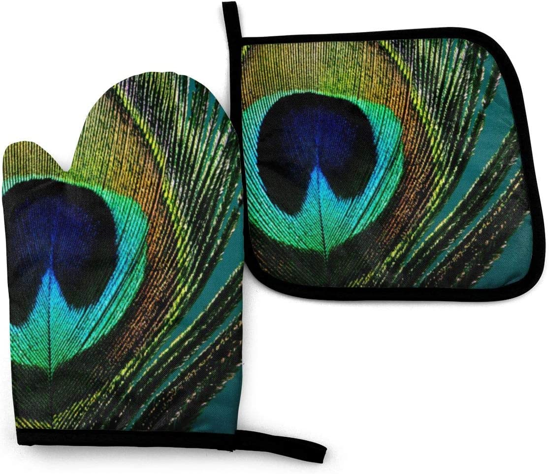 Oven Mitts and Pot Holders Set,Boho Chic Peacock Feather Washable Heat Resistant Kitchen Non-Slip Grip Oven Gloves for Microwave BBQ Cooking Baking Grilling