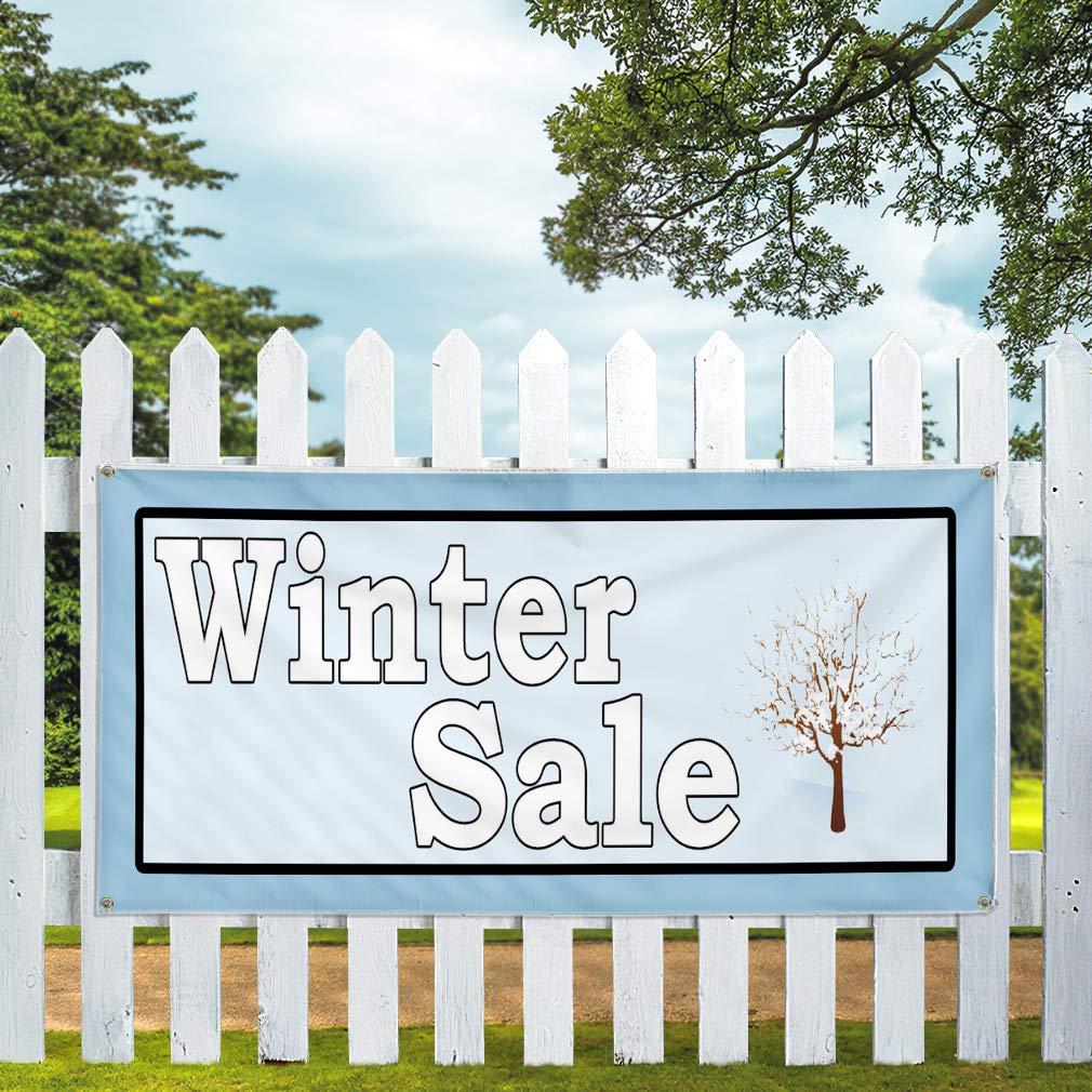 Set of 3 Multiple Sizes Available 24inx60in Vinyl Banner Sign Winter Sale Blue Black White Business Sale Marketing Advertising Blue 4 Grommets