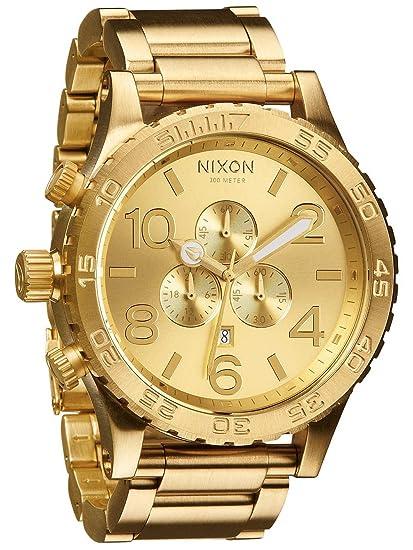 Nixon Reloj para Hombre con Correa de Acero Inoxidable Chapado - A083502-00: Amazon.es: Relojes