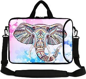 """Violet Mist 13"""" 15"""" 15.6"""" Neoprene Laptop Sleeve Bag Waterproof Sleeve Case Adjustable Shoulder Strap External Pocket(14"""" 15""""-15.6"""",Pink Elephant)"""