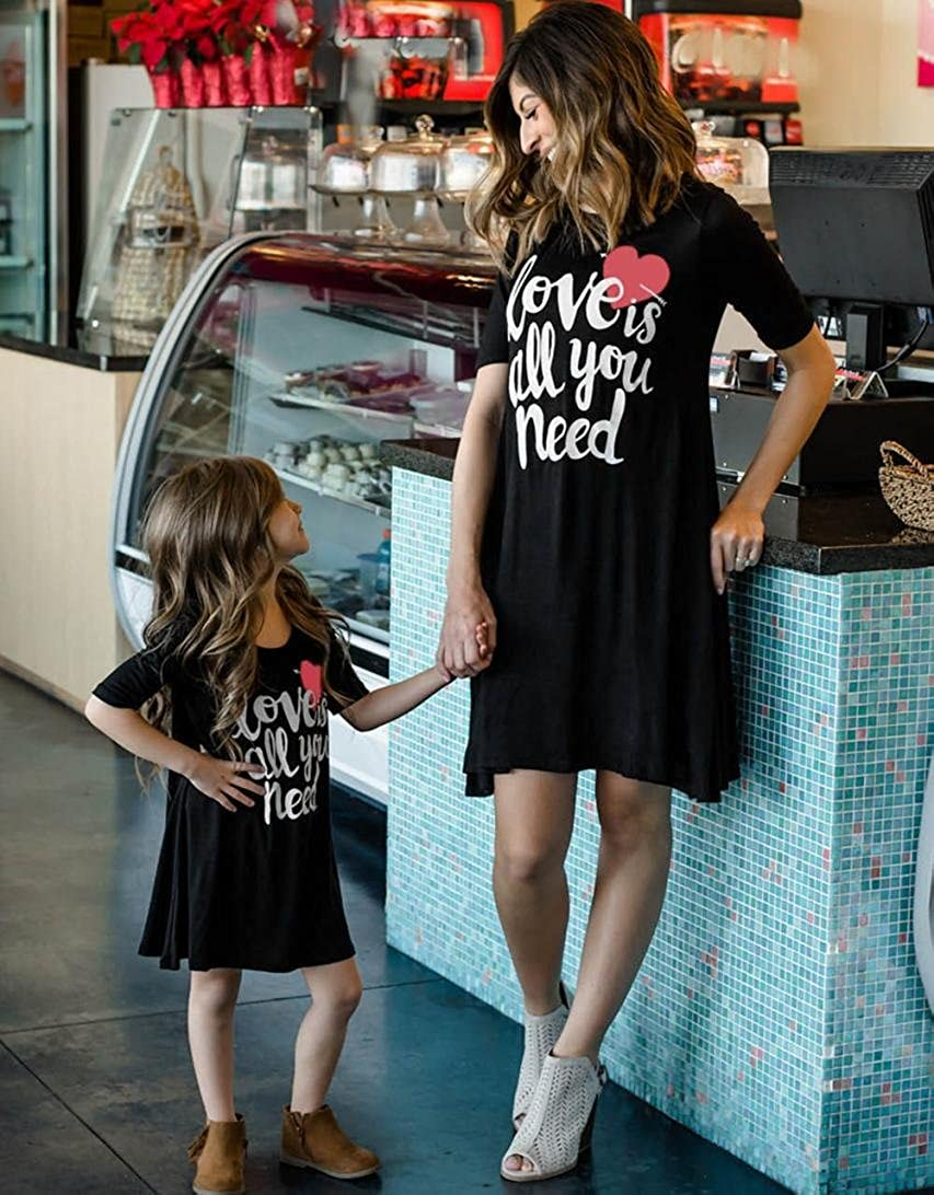 Lurryly❤Family Matching Clothes Mom&Me Girls Women Short Sleeve Dress Outfits Dresses