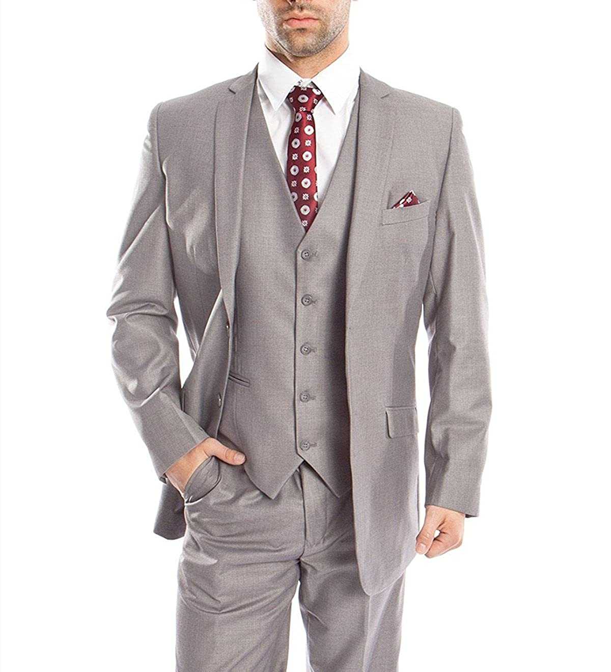 YSMO Men's Light Gray 3 Piece Suit Jacket & Pants & Vest Business Brazer YSMO18061109