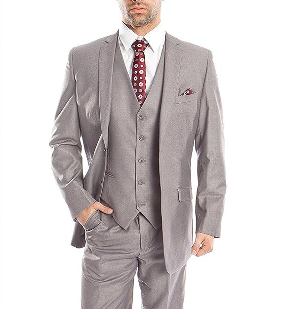 Amazon.com: Ysmo hombre gris claro traje de 3 piezas ...