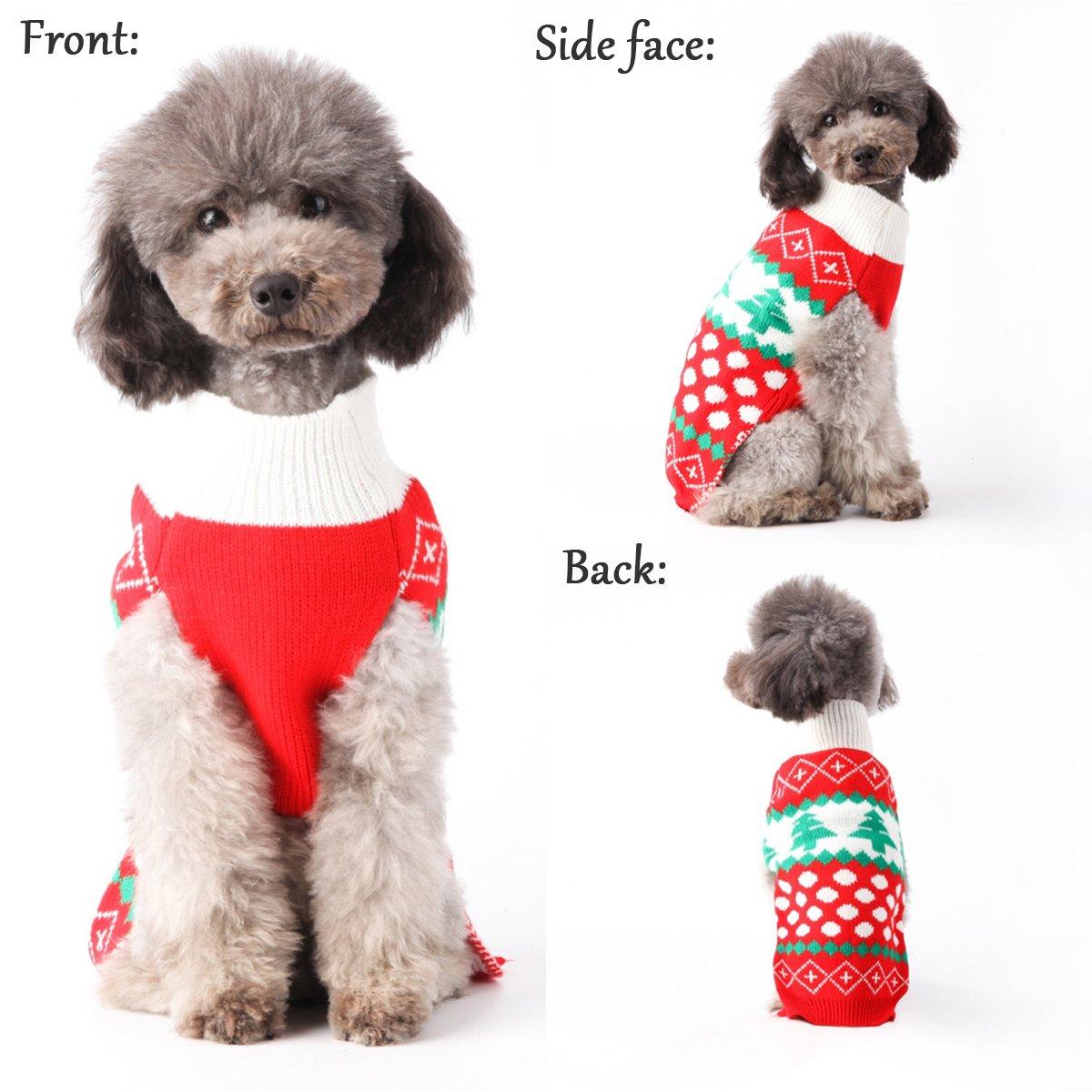 Perro Navidad Jersey de punto de perro copo de nieve Navidad reno ...