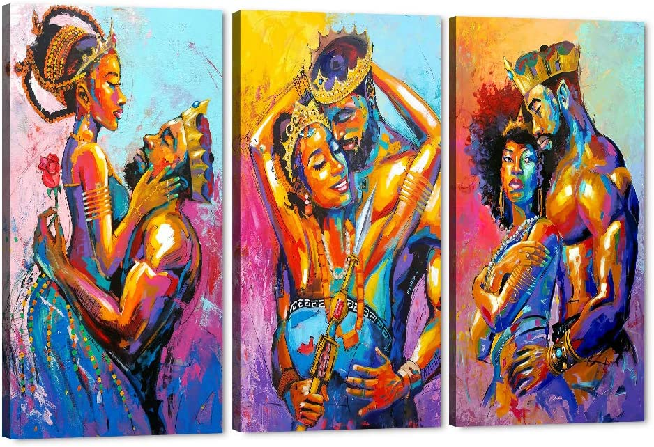 "Set of 3 African King and Queen Canvas Wall Art, Black Art Paintings for Wall, King & Queen Crowns Poster for Adult Bedroom Decor, Sexy Pose of African Lovers Picture Framed Artwork (60"" W x 40"" H)"