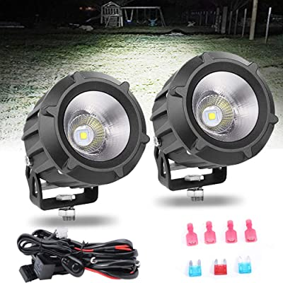 LEDUR LED Driving Light Cree Led Work Light 18W with Wiring Harness 2 Lead 16 WAG Flood Spot Combo Beam White Led Pods Offroad Motorcycle Jeep SUV Truck Wrangler Boat Tractor: Automotive