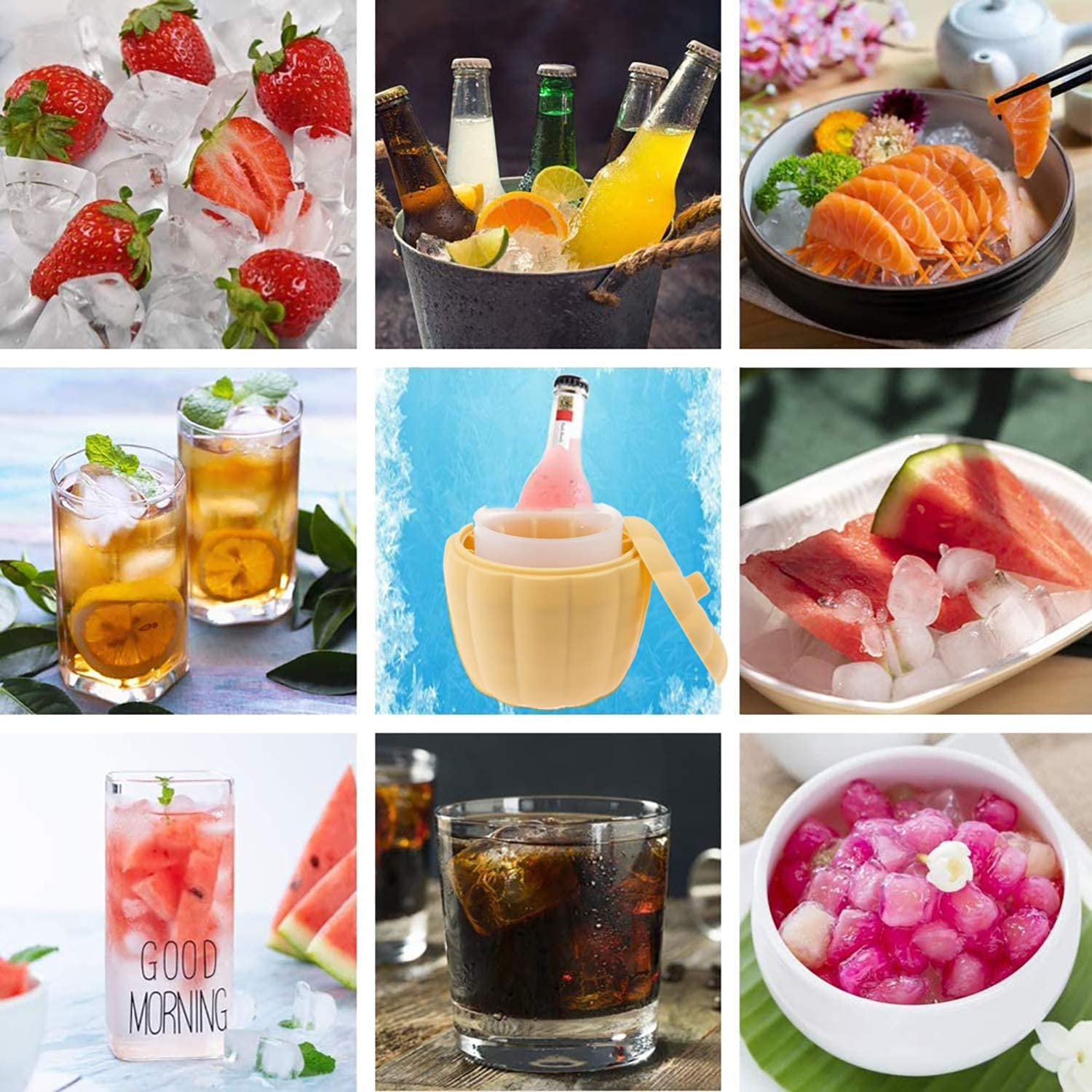 Aliyaduo Ice Maker Bucket Ice Cube Bucket Cute Pumpkin Crushed Ice Maker for Frozen Drink Double Layer with Lid