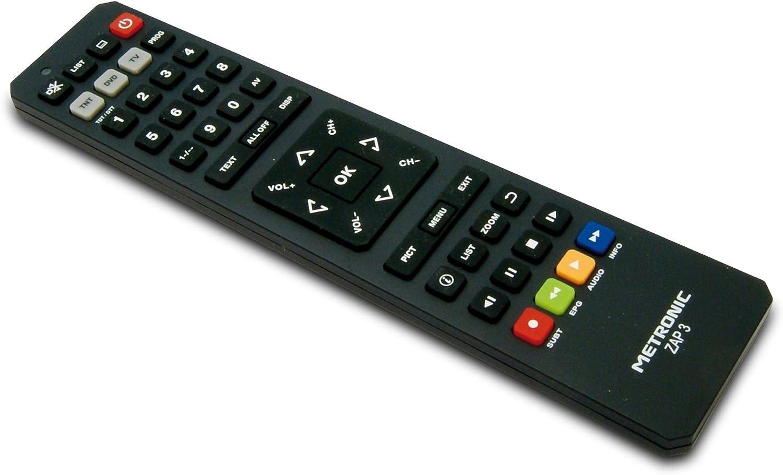 Metronic TCDE ZAP3 - Mando a distancia universal para TV y TDT, negro: Amazon.es: Electrónica
